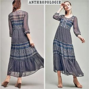 ANTHRO Floreat New To Geometry Tired Maxi Dress